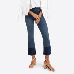 SPANX Cropped Flare Medium Wash Fray Hem